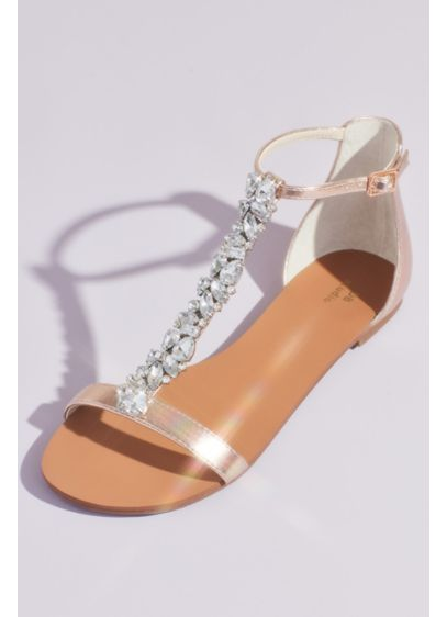Crystal Encrusted T-Strap Metallic Flat Sandals - Turn heads in these fashion forward flat sandals